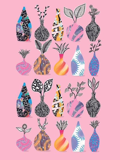 A4 Pink Pot Party Print