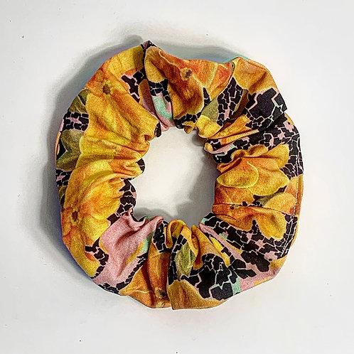 100 % Cotton Scrunchie- Yellow Flowers Design