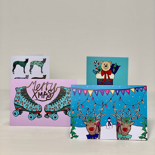 4 Pack- Illustrated Christmas Cards