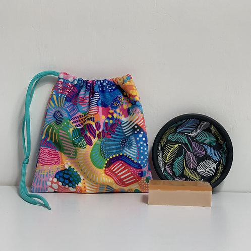 Large Pouch with Saucer/Soap Dish and Soap