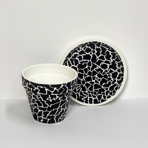 Small Hand Decorated Pot and Saucer- Monochrome Mosaic Design