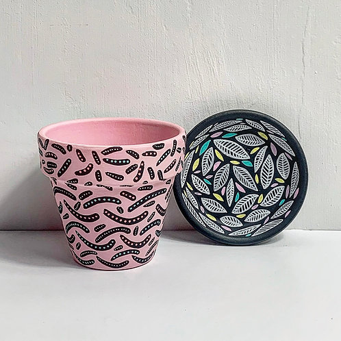 Mini hand Decorated Pot and Saucer- Mix Match Design