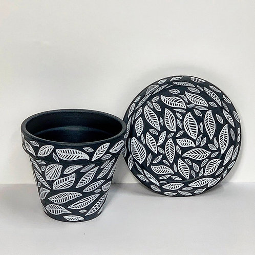 Medium Hand Decorated Pot and Saucer- White Leaves on Black Design