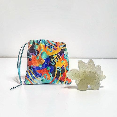 Mini Velvet Handmade Pouch with Dinosaur Soap