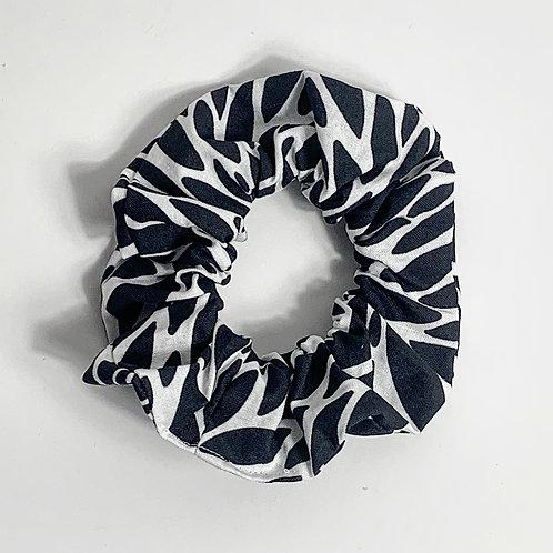 100 % Cotton Scrunchie- Monochrome Leaves Design
