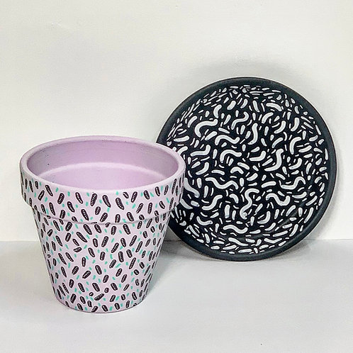 Medium Hand Decorated Pot and Saucer- Lilac Dashes Design with Wiggles
