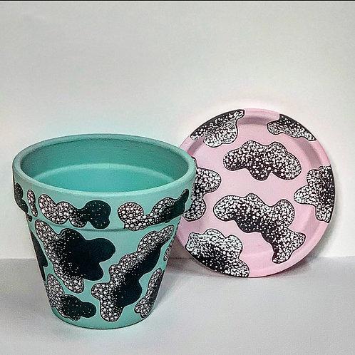Medium Hand Decorated Pot and Saucer- Dot and Dash Cloud Design