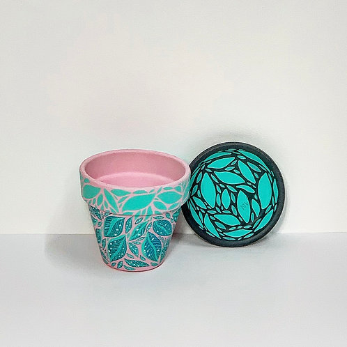 Mini Hand Decorated Pot and Saucer- Minty Leaves Design
