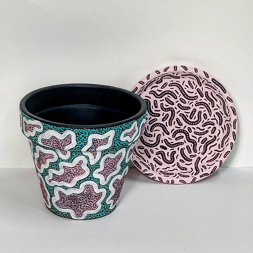 Medium Hand Decorated Pot and Saucer- Pink and Green Dot Party Design