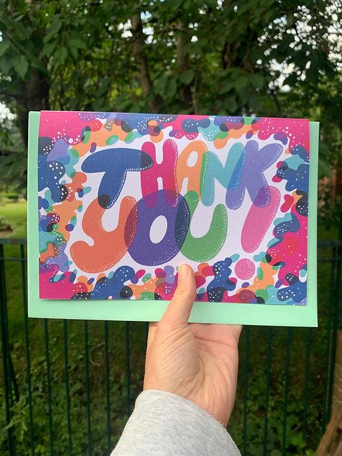 Bubble Writing Thank You Card