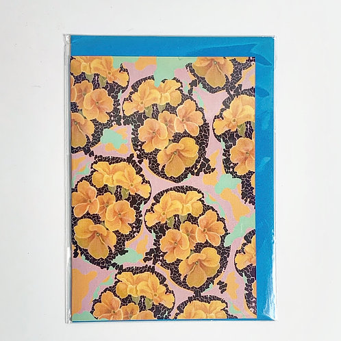A5 Greeting Card Yellow Flowers