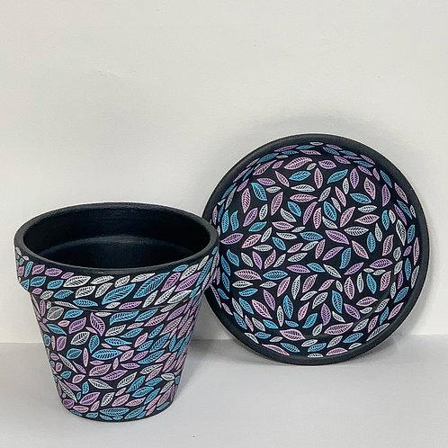 Medium Hand Decorated Pot and Saucer- Pastel Leaves on Black Design