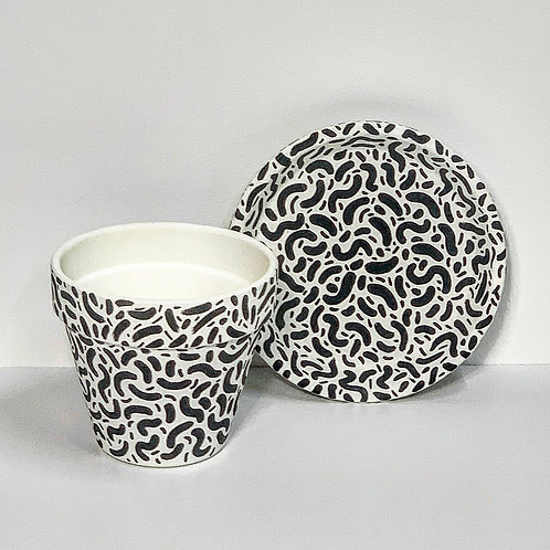 Small Hand Decorated Pot and Saucer- Monochrome Wiggles Design