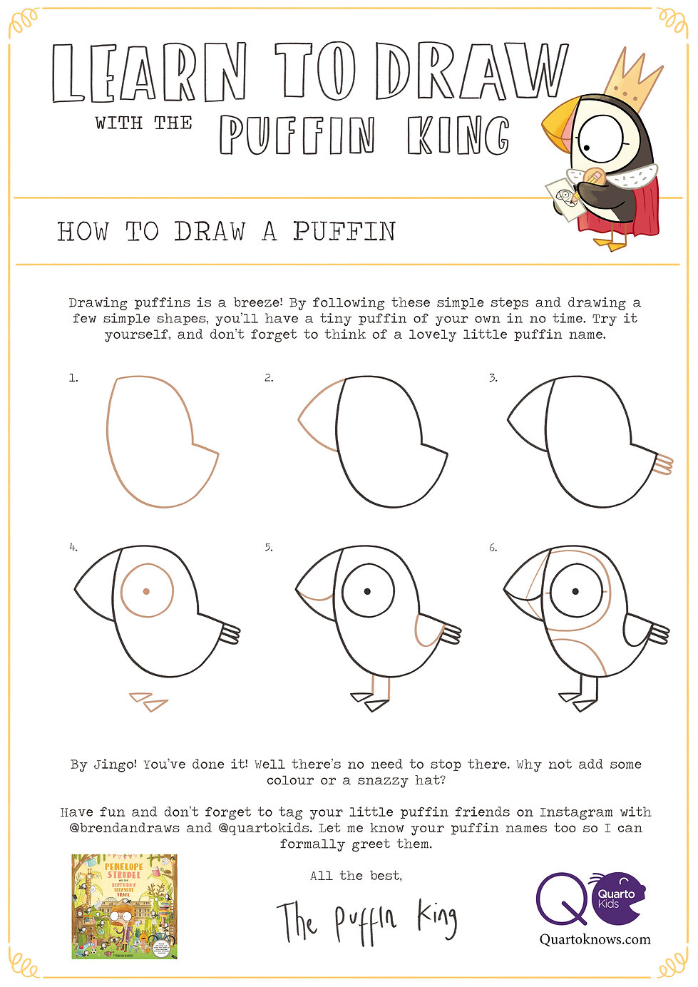 Learn to draw a puffin with the puffin k