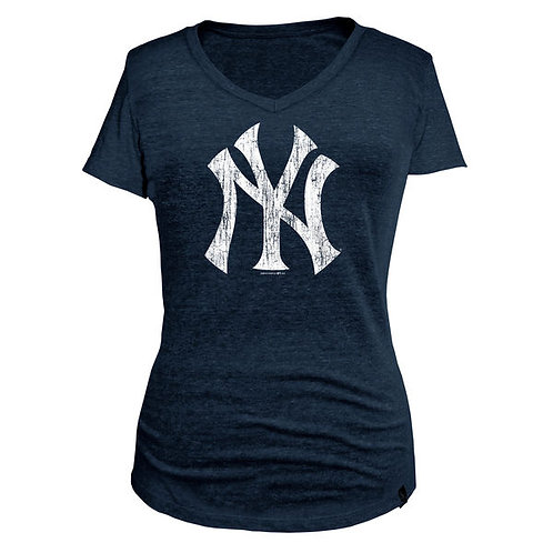 New York Yankees 5th & Ocean by New Era Women's Tri-Blend Basic Logo V-Neck T-Sh