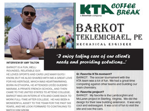 KTA COFFEE BREAK - Q&A Series      Barkot Teklemichael, PE