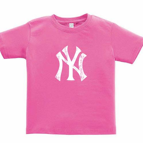 New York Yankees Pink Distressed Logo Toddler T-Shirt