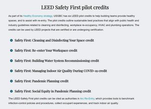 USGBC releases LEED Safety First pilot credits.