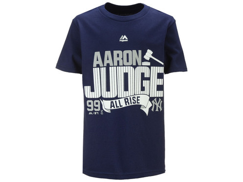 3b1adc443 Majestic's Youth Aaron Judge pinstripe ALL RISE tee is a great way for kids  to show off their favorite player and team. This Officially Licensed New  York ...