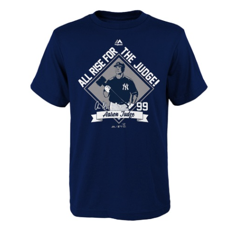 813255ec New York Yankees Aaron Judge Youth Navy Here Comes The Judge T-Shirt
