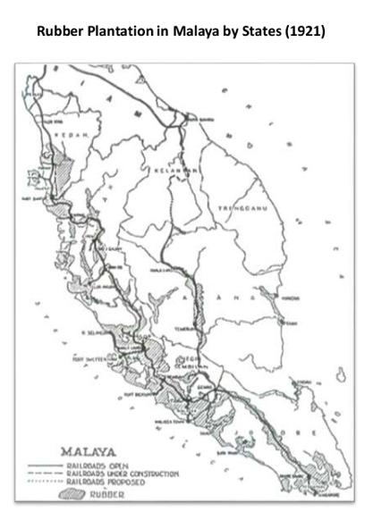 马来亚橡胶种植分布图(1921)