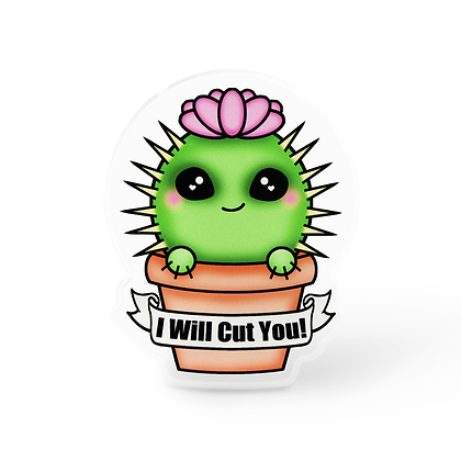 Cut You Cactus Pin