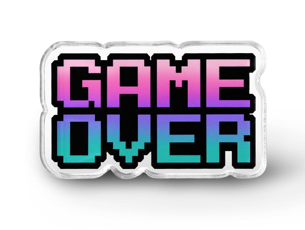 Game Over Pin - Grunge Pins, Pixel Word Geek Accessories