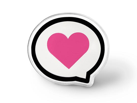 Love Speaks Pink Heart Pin