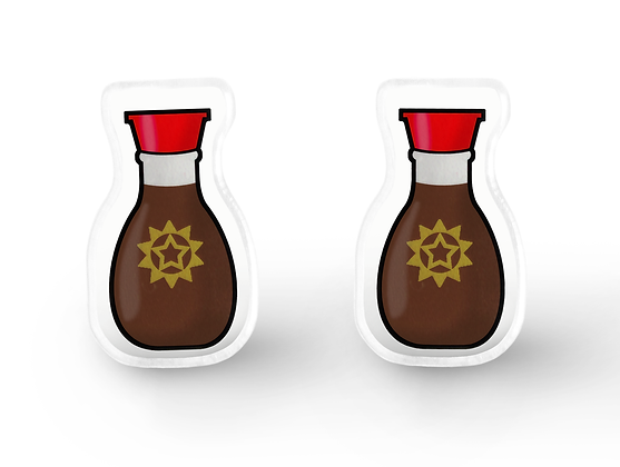 Tiny Soy Sauce Earrings - Kawaii Food Earrings