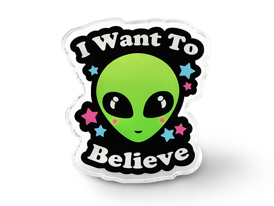 I Want To Believe Alien Pin - Geek Accessories, Grunge Ufo Pin