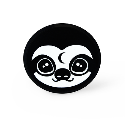 Mystic Sloth Pin - Style 2 Solid Black Acrylic