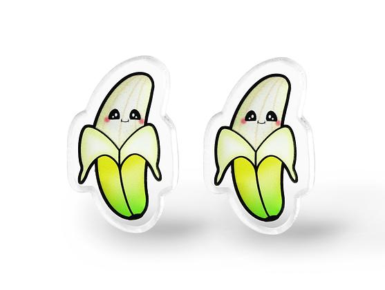 Tiny Kawaii Banana Earrings - Kawaii Fruit Earrings