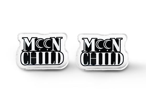 Moon Child Word Earrings