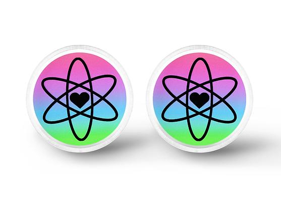 Atomic Love Earrings - Geek Gift, Science Jewelry