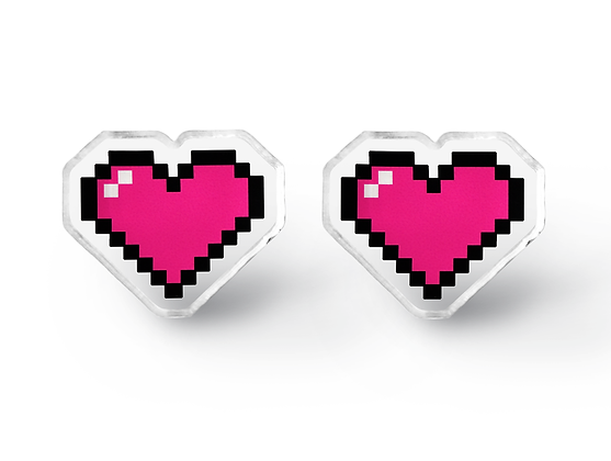 Pixel Heart Container Earrings - Video Game Geek Jewelry
