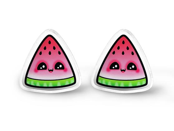 Kawaii Watermelon Earrings - Kawaii Jewelry, Fruit Stud Earrings