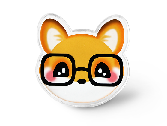 Nerdy Kawaii Fox Pin