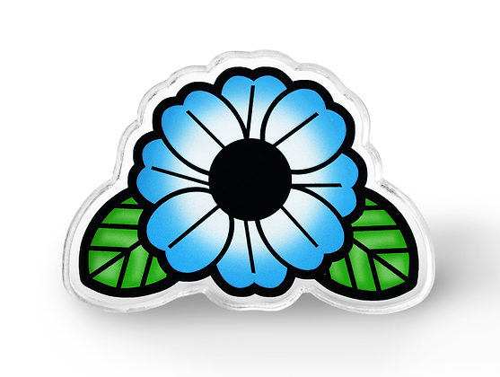 Blue Tattoo Flower Pin