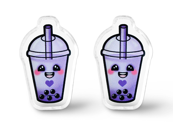 Purple Bubble Tea Earrings - Style B
