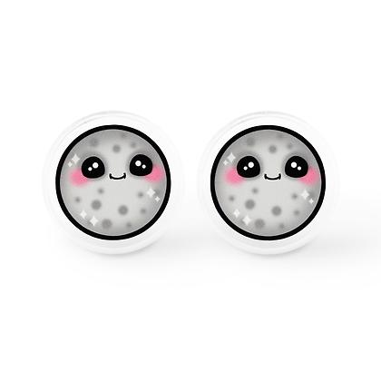 Kawaii Full Moon Earrings