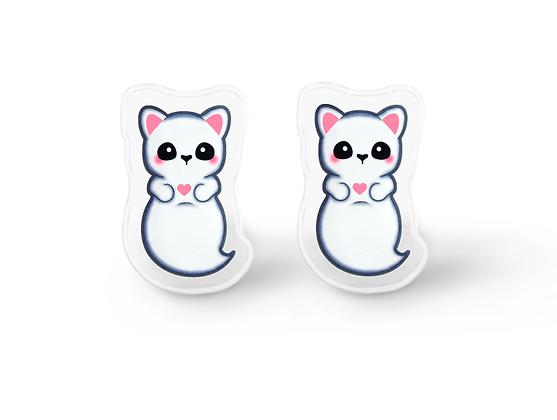 Ghost Cat Earrings