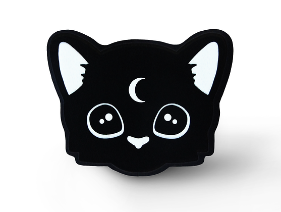 Mystic Cat Pin - Style 2 Solid Black Acrylic