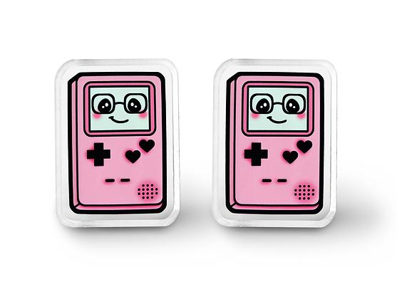 Pink Gamer Cutie Earrings - Kawaii Video Game Jewelry