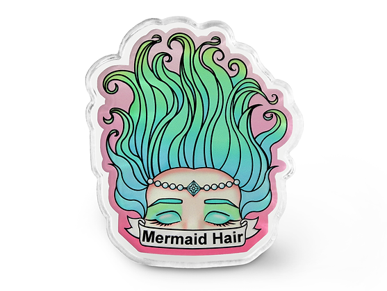 Mermaid Hair Pin - Pastel Grunge Pin, Mermaid Brooch