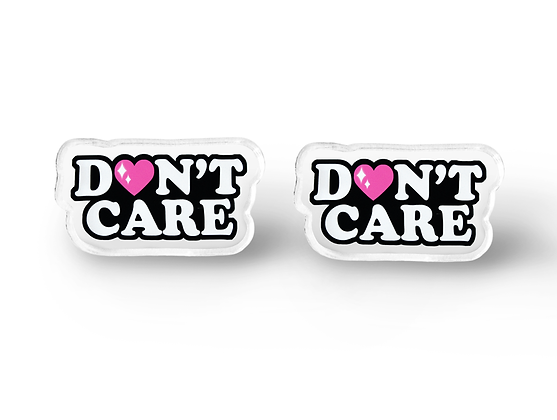 Don't Care Word Earrings - Soft Grunge Accessories, Sarcastic Gift, Sarcasm, Gru