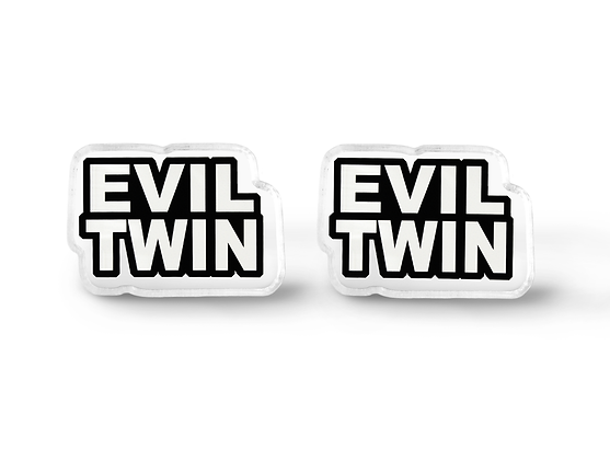 Evil Twin Word Earrings - Pastel Goth Accessories
