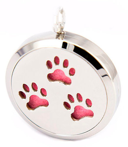 Paw Prints Pendant Diffuser Stainless Steel Necklace