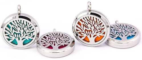 Tree of Life Pendant Diffuser Necklace Stainless Steel 25 mm