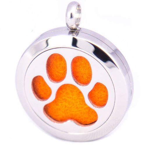 Paw Pendant Diffuser Necklace Stainless Steel