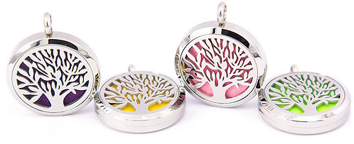 Tree of Life Pendant Diffuser Necklace Stainless Steel 30mm